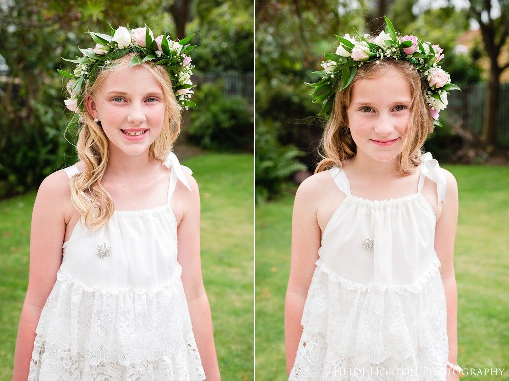 woodland fairy flower girls, floor girls with flower crowns, Argyle Cottage Garden Invercargill wedding, Argyle Cottage Garden, Invercargill wedding venue, old church ruins, garden wedding Southland, Southland wedding photographer, Heidi Horton Photography
