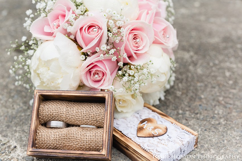 wedding ring box ideas, windsor florist invercargill, peony roses wedding flowers, soft pink roses wedding, babys breath wedding flowers, Heidi Horton Photography