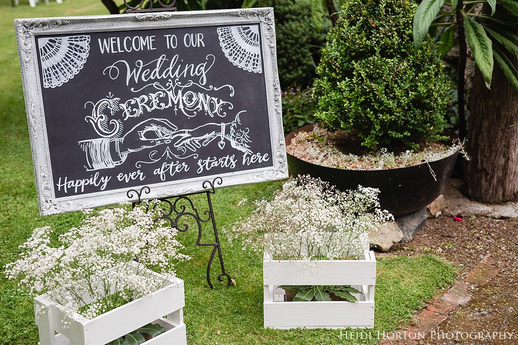 chalkboard sign wedding, Argyle Cottage Garden Invercargill wedding, Argyle Cottage Garden, Invercargill wedding venue, old church ruins, garden wedding Southland, Southland wedding photographer, Heidi Horton Photography
