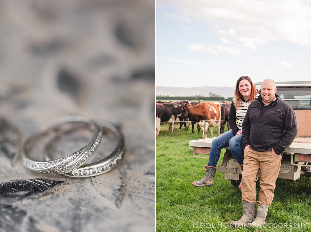 farm engagement session photos, photographs on the farm, engagement portraits, southland wedding, Southland NZ, Heidi Horton Photography