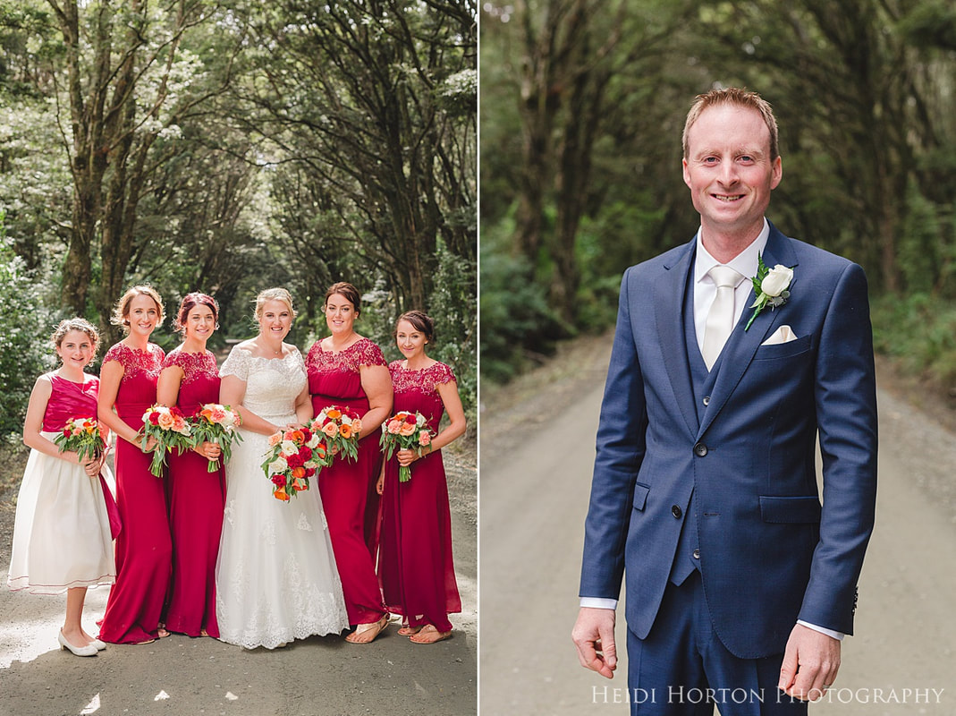 Heidi Horton Photography, River Ridge Retreat wedding, Catlins wedding venue, red and navy styled wedding, Love Me Do Bridal wedding dress, Purakaunui Bay wedding photos, Catlins wedding photos, native beech forest wedding photos, husband and wife photographers, timeless fun wedding photos