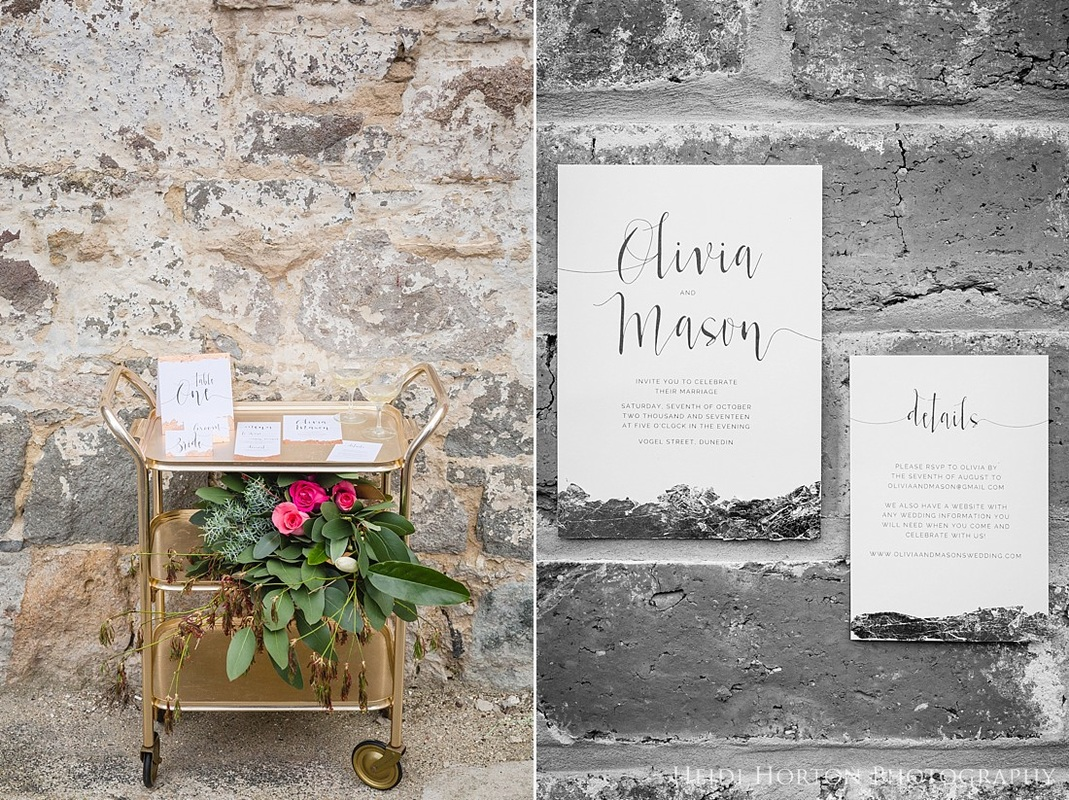 wedding stationery inspiration, urban wedding inspiration, urban inspired wedding shoot, urban wedding inspiration, getting married in the city, dunedin wedding inspiration, dunedin wedding photographer, urban wedding, copper wedding inspiration, otago wedding photographer, Heidi Horton Photography