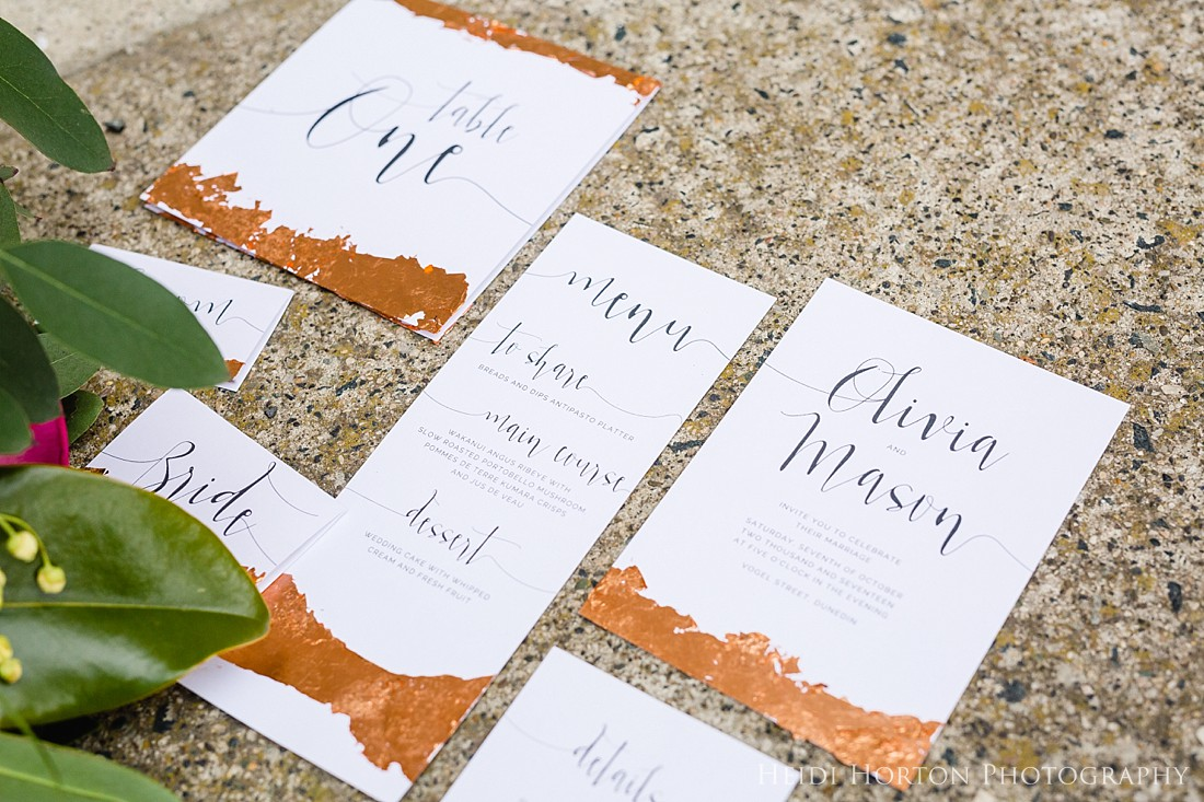 copper foiled wedding stationery, foiled wedding stationery, hand foiling, copper foiling, copper wedding theme, urban inspired wedding shoot, urban wedding inspiration, getting married in the city, dunedin wedding inspiration, dunedin wedding photographer, urban wedding, copper wedding inspiration, otago wedding photographer, Heidi Horton Photography