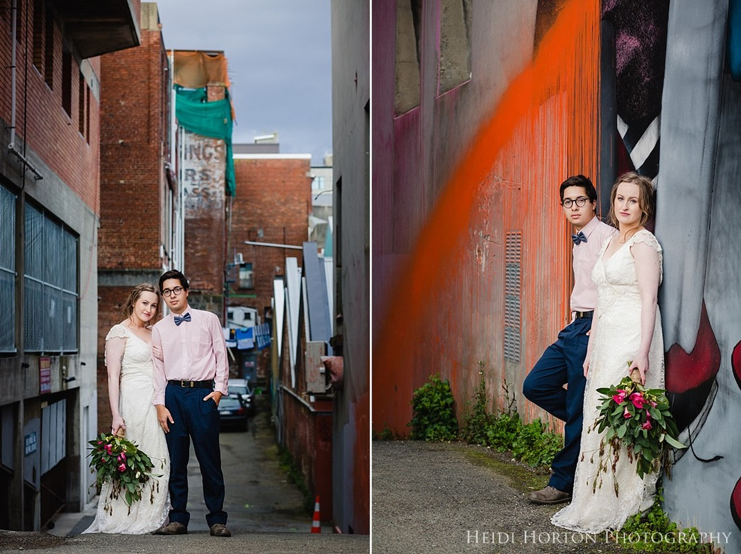 city alleyway wedding photos, dunedin street art, dunedin street wall art wedding, urban street art wedding, urban inspired wedding shoot, urban wedding inspiration, getting married in the city, dunedin wedding inspiration, dunedin wedding photographer, urban wedding, copper wedding inspiration, otago wedding photographer, Heidi Horton Photography
